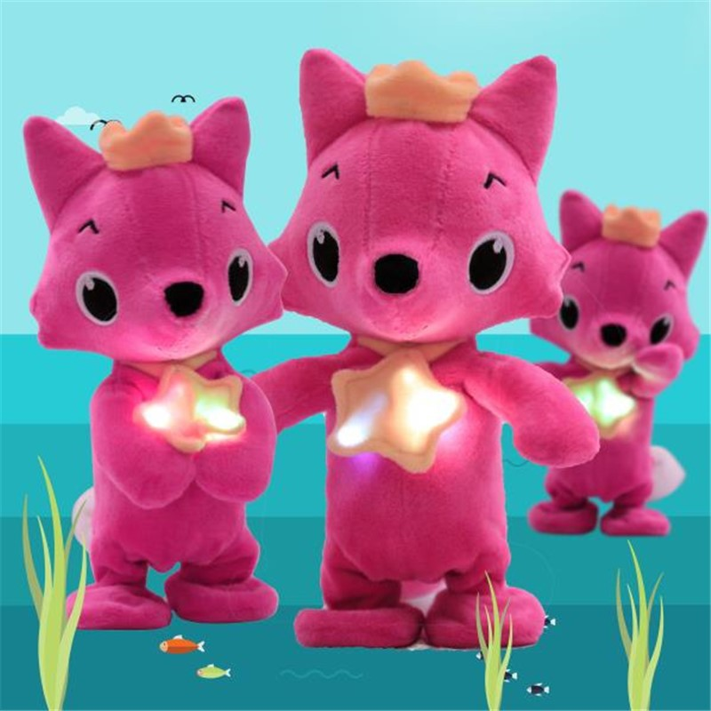 1pcs Electric Plush Fox Sharks Soft Dolls Walking Singing Foxes Children Baby Animal Kid Toys Baby Accompany Doll Xmas Gift