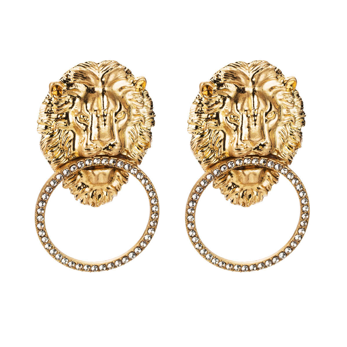 GEREIT 2019 ZA Alloy Lion Head Charms Drop Earrings Jewelry Hot Sale Lady's Novelty Collection Earrings Accessories Jewelry Gift