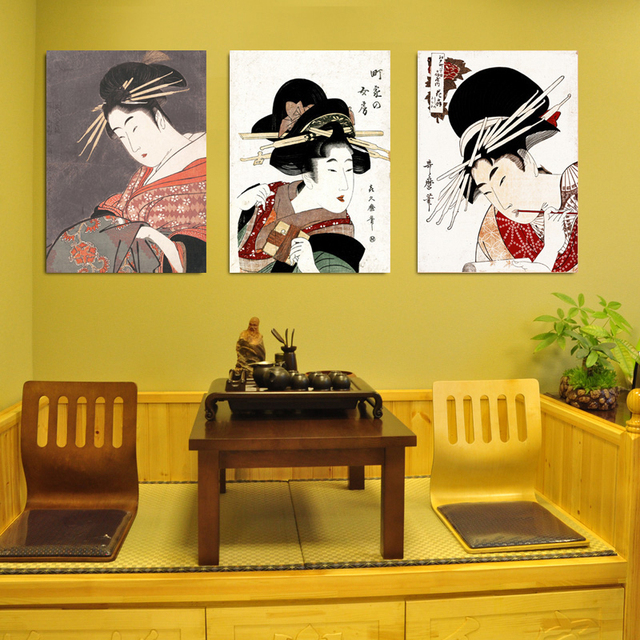 Japanese Style Ukiyo-e Mural Classical Beauty Figure Canvas Painting Spa Restaurant Ladies Wall Picture Poster Home Room