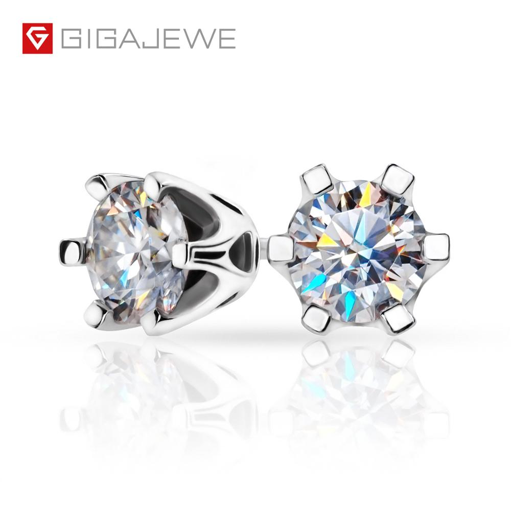 GIGAJEWE F Total 1ct Round Cut Diamond Test Passed Moissanite 18K White Gold Plated 925 Silver