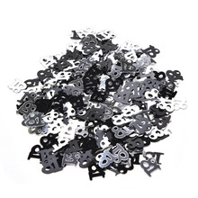 Black Number 13 16 18 21 Years Old Happy Birthday Sprinkle Metallic Confetti Table Scatter Adults Kids Party Decorations