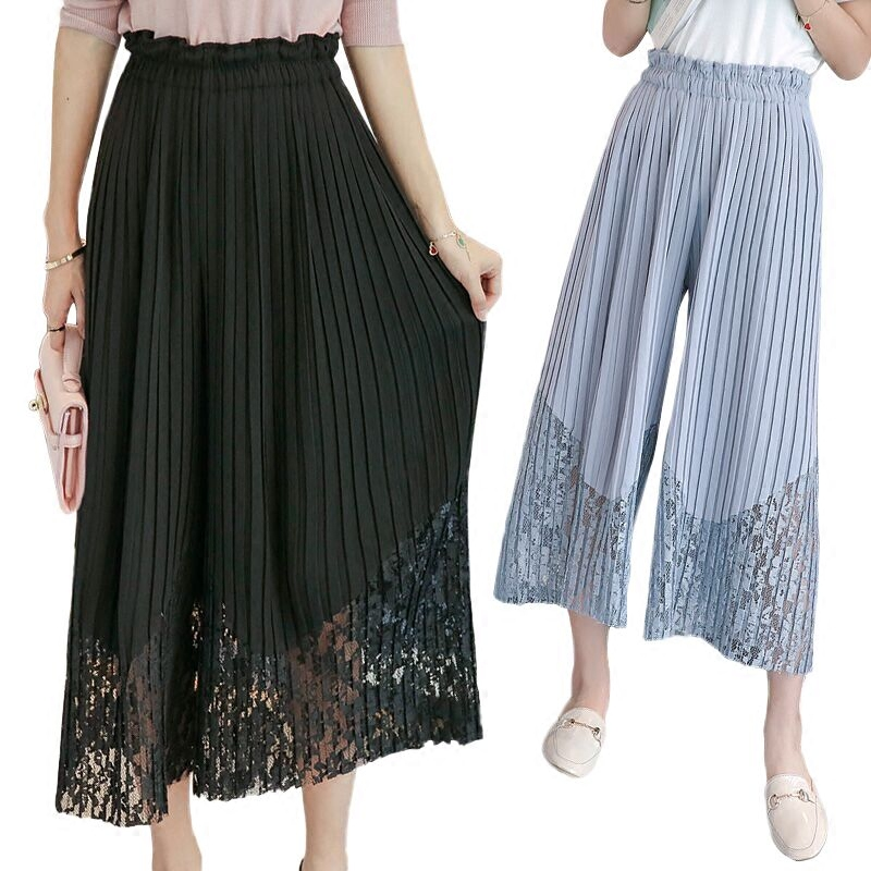 New Spring Summer Chiffon Spliced Lace Wide Leg Pants Women OL Pleated Chiffon Trousers Elegant High Waist Female Leggings Mw197 1
