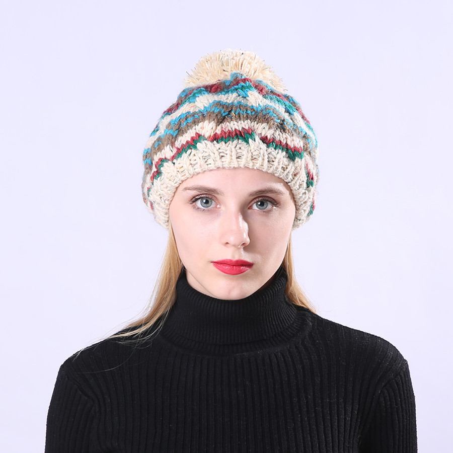 083368bc Detail Feedback Questions about 2019 NEW Hat Brand Cable Knitted Bobble Hat  Plain Mens Womens Beanie Warm Winter Pom Wooly Cap high quality on ...