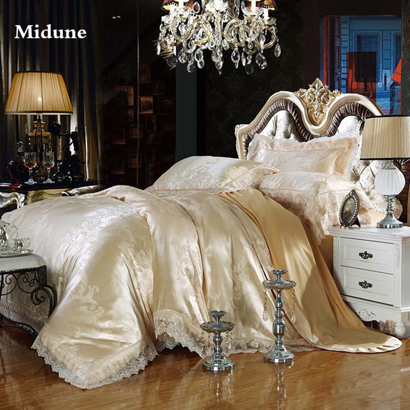 New 100% Cotton Luxury Embroidery Tencel Satin Silk Jacquard Bedding Sets Bed Sheet Queen King size 4pcs/6pcs Duvet Cover Sets