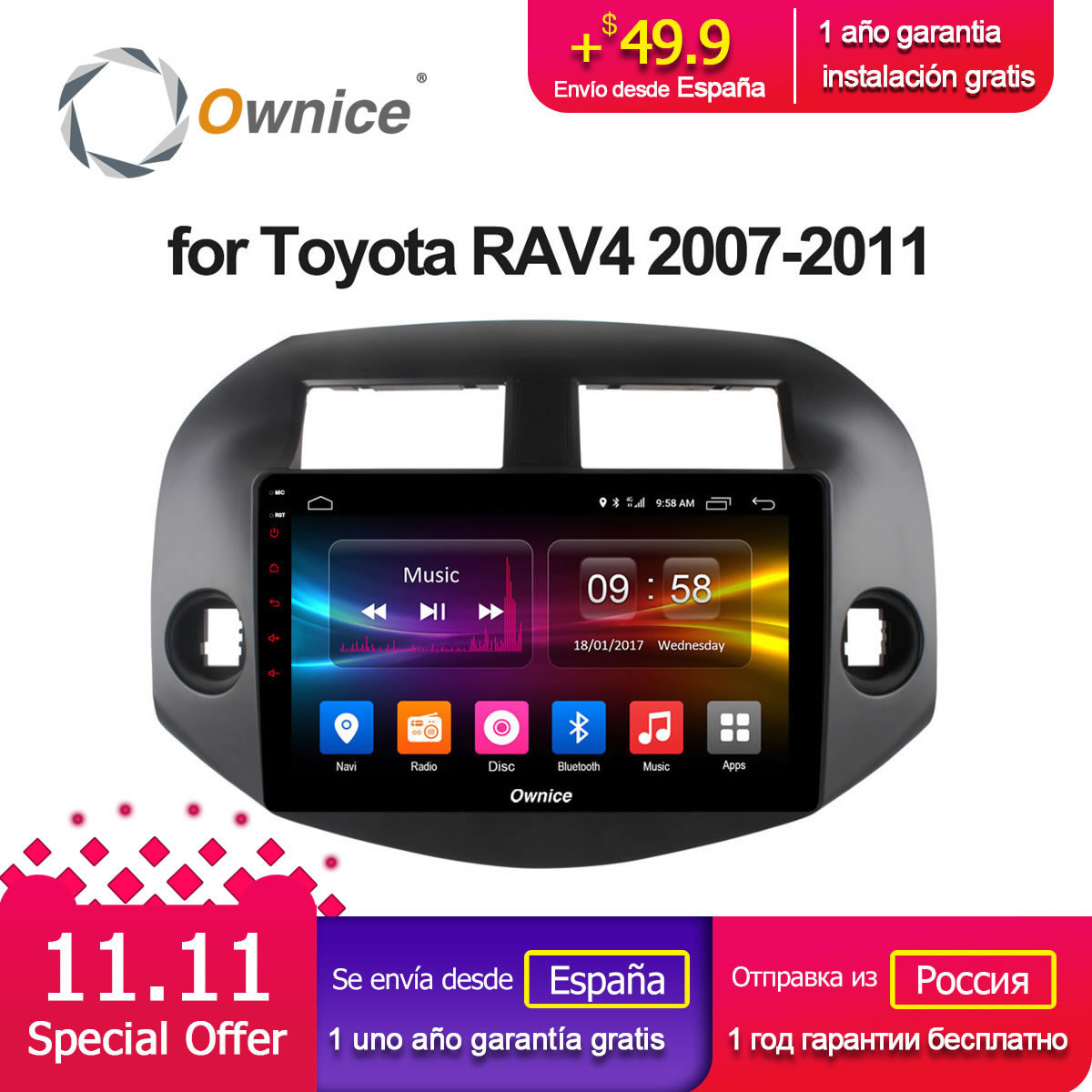 Ownice C500 + G10 Android 8.1 Octa base 10.1 Voiture Radio Stéréo Lecteur GPS Pour TOYOTA RAV4 2007 2008 2009 2010 2011 2g RAM 32g ROM