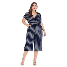 Overalls Jumpsuit Bodysuit Women Short sleeve V-neck striped Cross-border large size tie casual jumpsuit combinaison femme