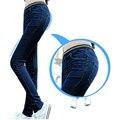 2016 новые зимние женские стрейч джинсы жира мм большой удобрений для увеличения джинсы Тонкие джинсы прямые джинсы эластичный пояс брюки XL