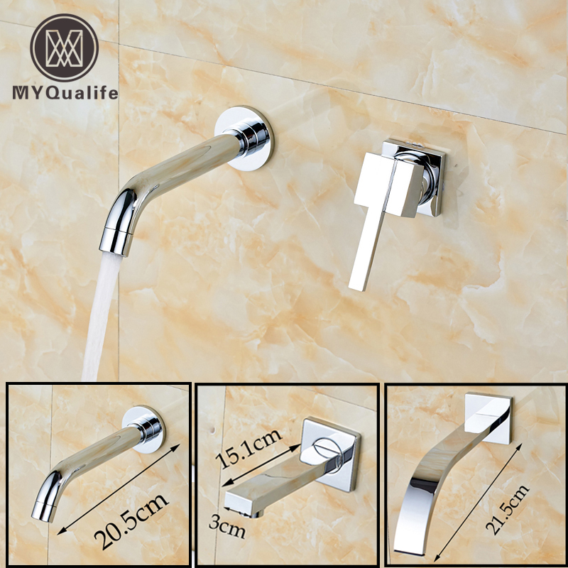 Best Quality Brass Chrome Wall Mount Basin Faucet Single Handle Bathroom Two Holes Basin Mixer Taps Free Shipping free shipping high quality chrome finished brass in wall bathroom basin faucet brief sink faucet bf019