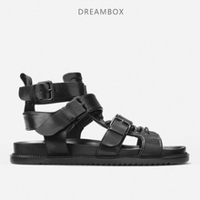 dreambox Summer Europe and the United States open toe of mens leather strap with high sneaker for Roman sandals