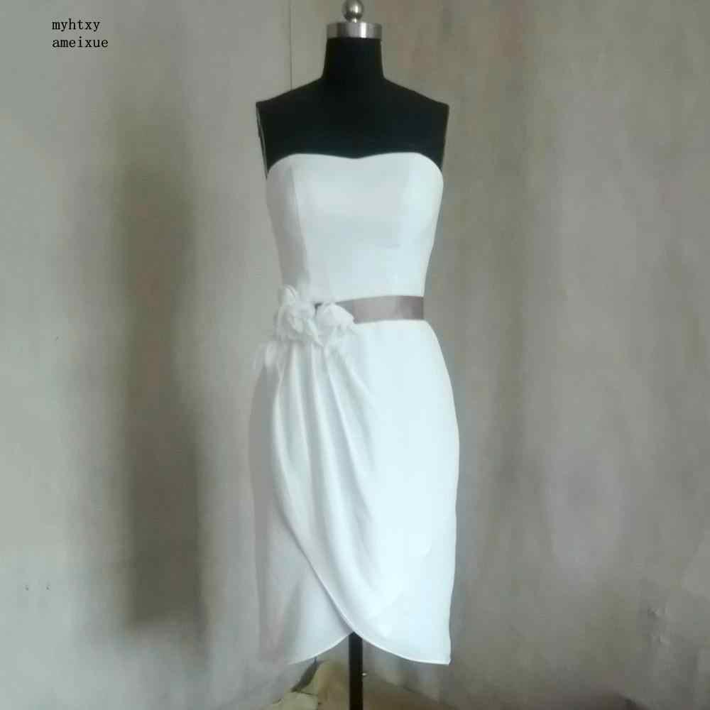 Sans manches en mousseline de soie sans bretelles genou longueur Zipper gaine Vintage pas cher robes de mariée de plage fabriqués en chine robes de mariée 2017