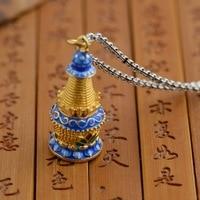 Gawu box S925 sterling silver pendants wholesale Shaolan gilded Buddhist stupa can open the Shurangama mantra of evil
