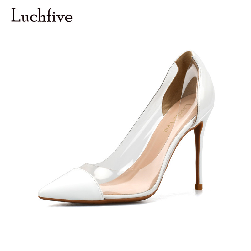 Luchfive Elegent sexy shoes women transparent PVC slip on pointed toe 10cm 8cm 6 cm thin high heels pumps zapatos mujer sweet women high quality bowtie pointed toe flock flat shoes women casual summer ladies slip on casual zapatos mujer bt123
