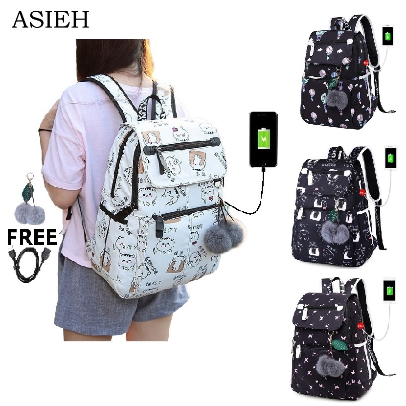 bd03ef92a5bf Girl fashion school bags waterproof nylon USB jack laptop shockproof  backpacks Woman white travel backpack combination best gift