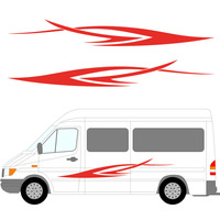 2x Run Dynamic Art Stripes Car Styling Sticker Caravan Bus Travel Trailer Camper Van Vinyl Decals Young Favoritecar styling Jdm
