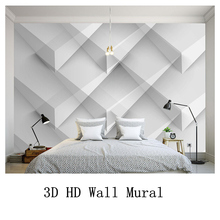 купить Modern White Luxury Wallpapers for Walls 3D Geometric Patterns Non-Woven Wall Papers For Bedroom Living Room Home Decor Murals по цене 1292.2 рублей