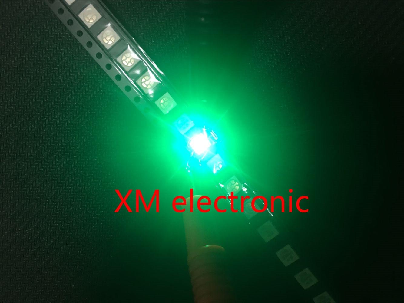 100pcs 5050 SMD Green PLCC-6 3-CHIPS 9000 <font><b>MCD</b></font> Ultra Bright <font><b>LED</b></font> High quality light-emitting diodes 5050 Green <font><b>LED</b></font> 5050 Diodes