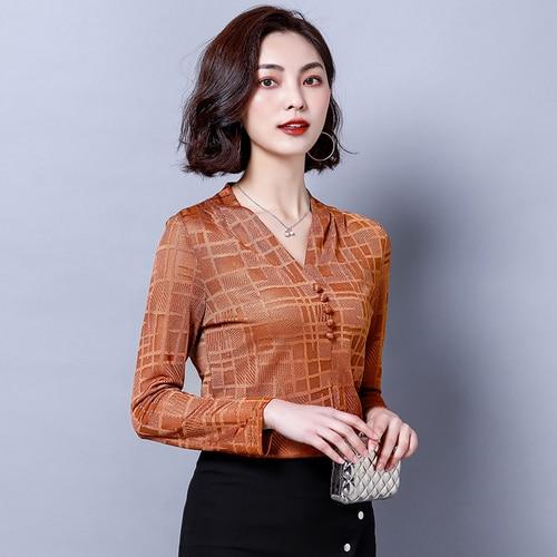 J40781 Mode Nieuwe Aankomst Vrouwen V hals Basic Shirt OL Office Lady Bruin Chiffon TShirt
