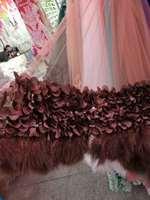 2017 latest dress modern dancing fabric, lace rudder bird hair accessories, high quality lace with rudder bird hair flower skirt