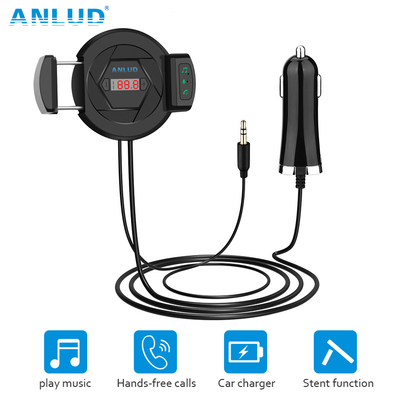 ANLUD FM Transmitter Bluetooth Car Kit Handsfree MP3 Music Audio Player Car-Charger Car Air Vent Phone Holder Hands Free Car Kit gf7carkit driver high quality headsets business earbuds hands free earphones phone bluetooth car kit with car charger