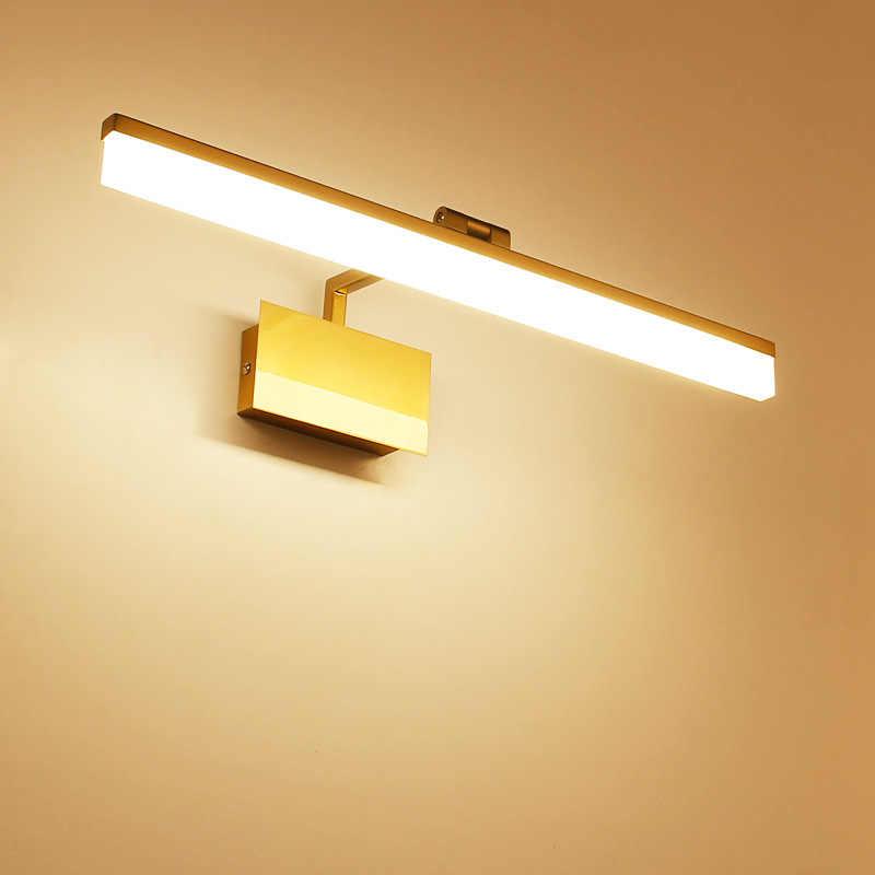 Kamar Mandi LED Cermin Lampu Retro Perunggu Cermin Rias Lampu LED Lampu Dinding Lampu Emas Cermin Dinding Sconce 90V -265V