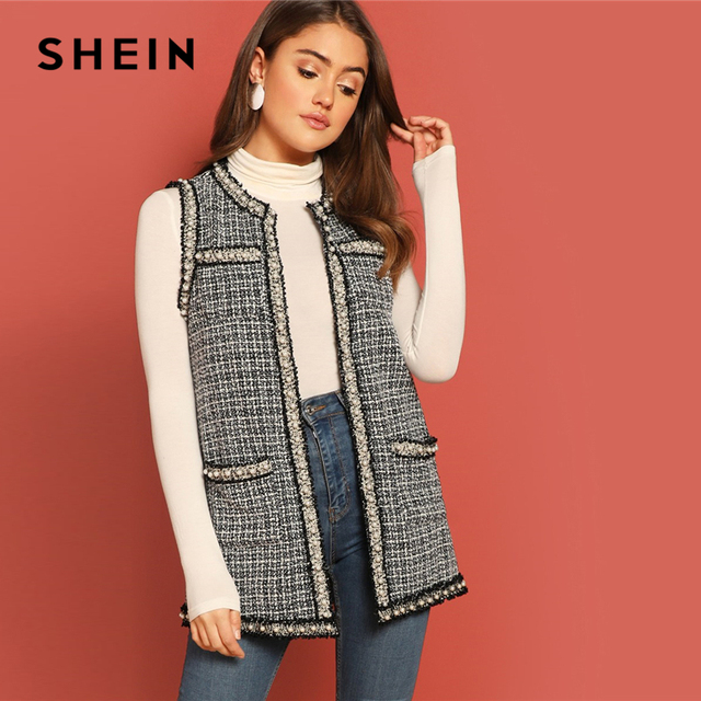 ef55070111 SHEIN Black and White Pearl Beaded Frayed Trim Open Stitch Tweed Shell Vest  Sleeveless Coat Women