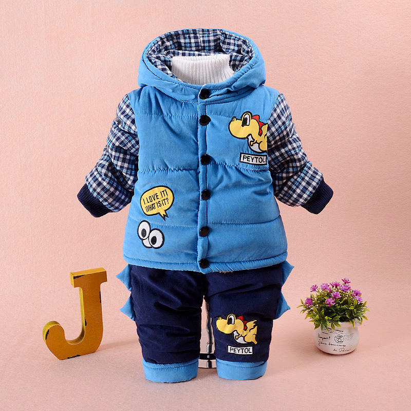 2017 Autumn Winter Infant Baby Boy Clothes Set Cotton Padded Suit Toddler 0-2years Boy Clothing Set Warm Outerwear Kids Jacket 2pcs set baby clothes set boy