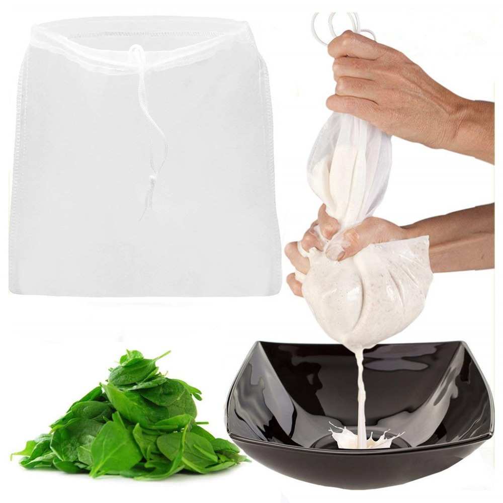 Nut Milk Bag Commercial Grade Reusable Almond Milk Bag Strainer Fine Mesh Nylon Cheesecloth Cold Brew Coffee Filter  #F