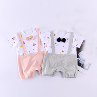 2colors 1PC Cute Watermelon Baby Girl Romper Sail Boat Baby Boy Jumpsuit Newborn Gentleman Bowtie Baby Girl Boy Outfit
