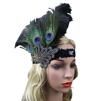 Indian Style Peacock Feather Headpiece Headwear Retro Plume Flapper with Sequin and Rhinestone headpiece