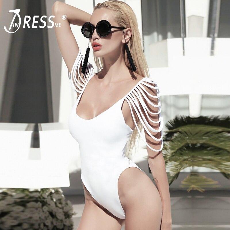 INDRESSME Sexy V Profond Backless Femmes Bandage Combinaisons De Mode Moulante Gland Femmes Maillots de Bain Solide Courroie de Spaghetti Barboteuse 2018