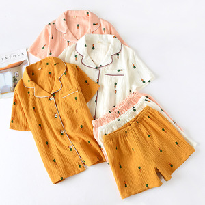 Image 1 - Double Layer Cotton Gauze Crepe Short Sleeve Shorts Pajamas for Women Plus Size Pyjamas Cartoon Printing Sleepwear Home Clothes