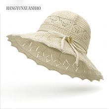 Summer Hats for Women Travel Hats Casual Solid Color Straw Hat with Rope Panama Hat Lady Hollow Out Beach Sun Hat