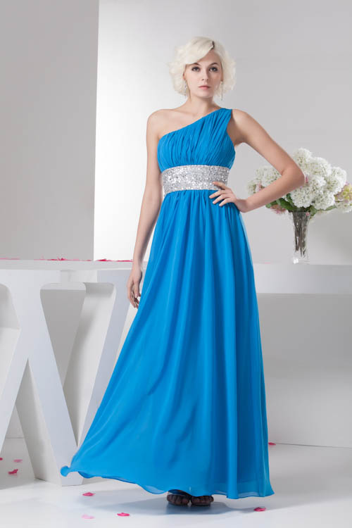 Sequined Beaded One Shoulder Long Chiffon Elegant   Bridesmaid     Dresses   Wedding Party Ruched   Dresses   Prom Gown Vestidos