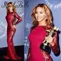 2016 Famosos Vestidos de La Celebridad Beyonce Rojo Satén Rhinestone Del Partido de Tarde Vestido De Alfombra Roja Vestidos de las Celebridades