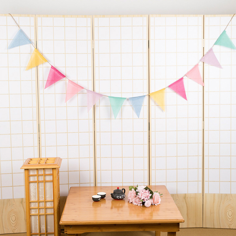 Birthday Party Tent Decoration Baby Shower Banners Cotton Fabric Cloth Bunting Decor Garland Wedding