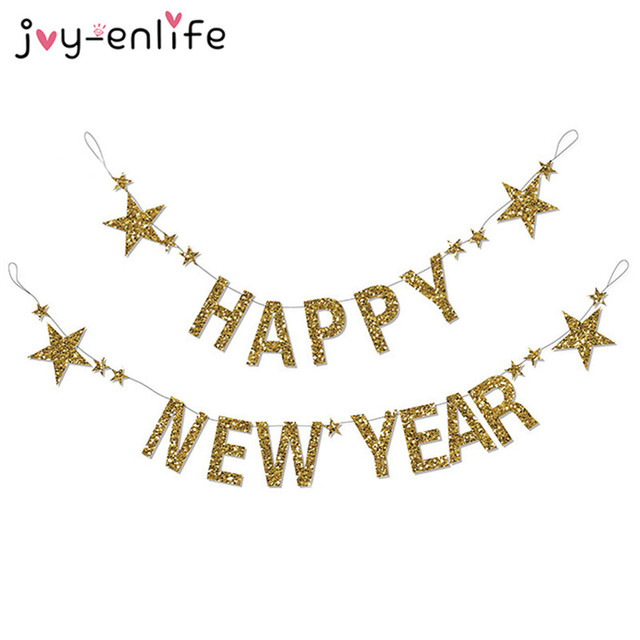 joy enlife 1set gold glitter happy new years banner garland 2018 christmas party decor photo