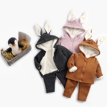 2018 Winter Infant Baby boys girls Clothing set Children outfit 2pcs Bunny Ear Fleece Hooded Coat +Pants Kids Thick warm Suit цены