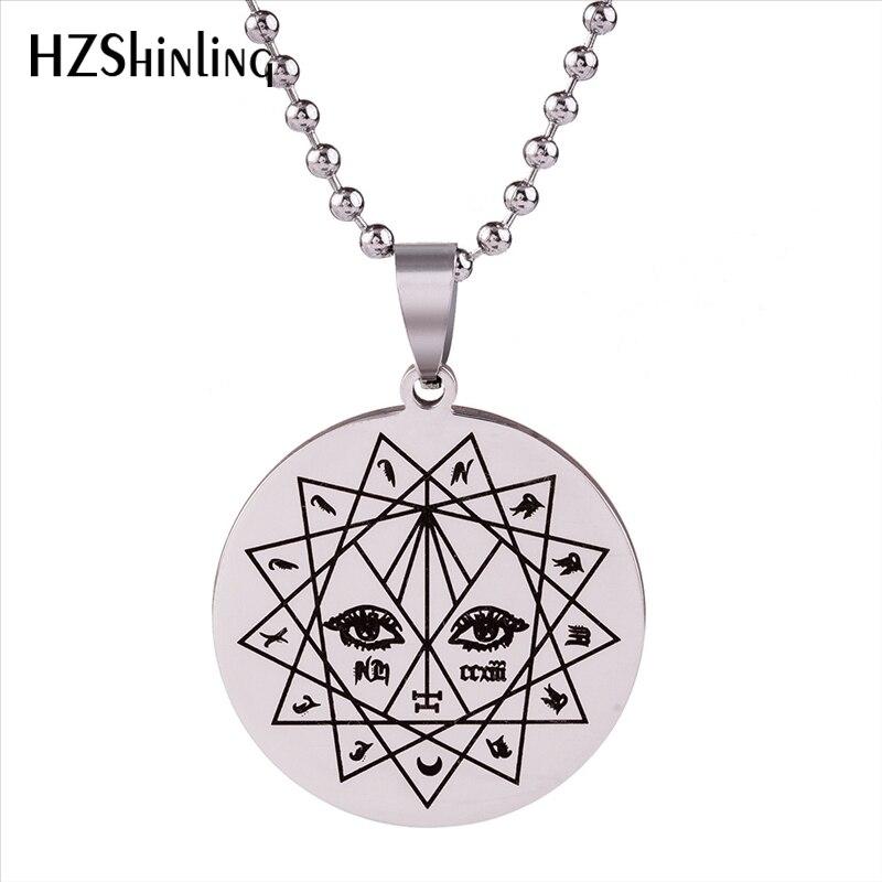 2018 New Stainless Steel The Devil's Eye Pendant Necklace Evil Eyes Jewelry Satanic Art Pendants Silver Ball Chian Gifts Men HZ7