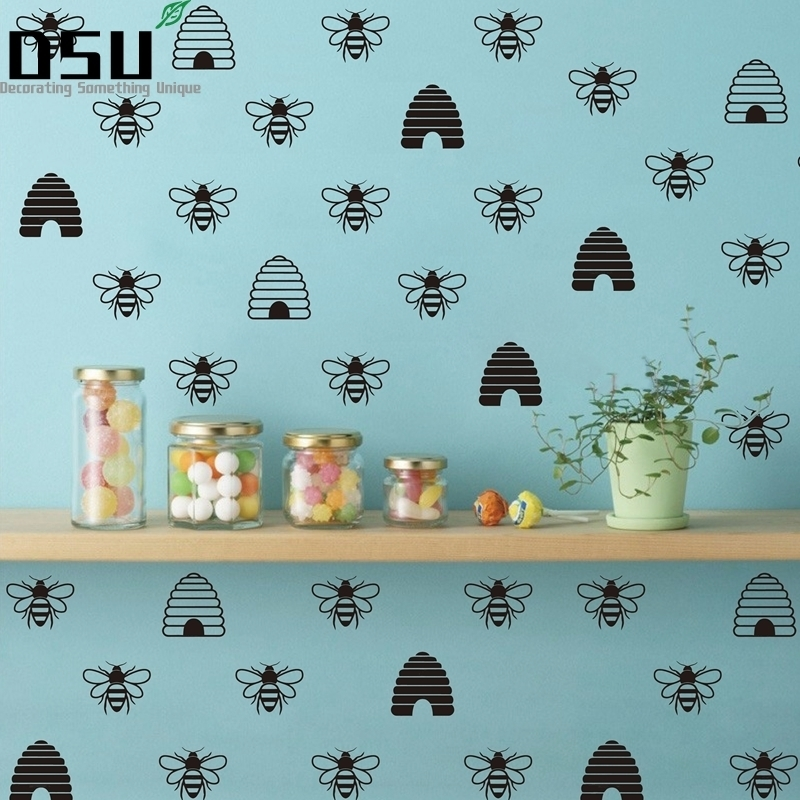 French Gold Bee Decals Honey Beehive Vinyl Wallpaper Wall Stickers Home Decor FQ0030 Wallpaper