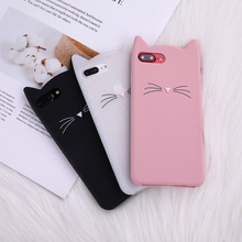 Cartoon Cute Black Pink Beard Cat Cases For iPhone X XS MAX XR Fashion Trend Leopard Anti-fall Phone Protection Dustproof Cover