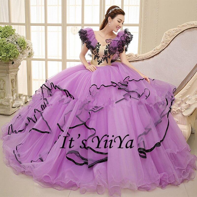 Free shipping New 2017 Purple Short Sleeves Princess Plus size ...