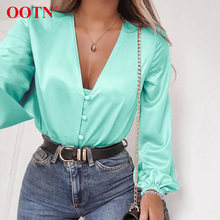 2cc7848cd31f50 OOTN Sexy Deep V Neck Green Satin Top Female Lantern Long Sleeve Casual Women  Blouse Shirt Fall Winter Silk Tunic Blouses Button