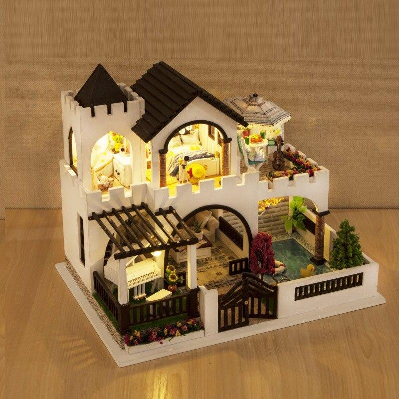 Bricolage maison de poupée meubles en bois mon rêve château filles jouet à la main maison de poupée en bois décoration bricolage jouets pour enfants fille cadeau - 4