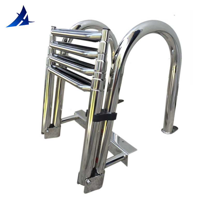 Boat Accessories Marine 4 Step Telescoping Boat Ladder Stainless Steel Inboard Rail Dock Siwmming Ladder