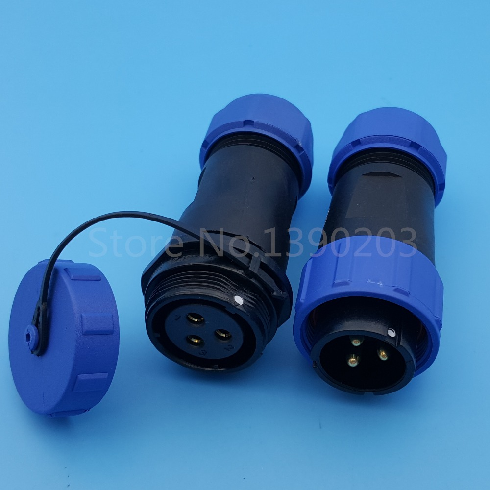 цена на 1Set 3Pin SP21 Waterproof IP68 Cable Butt Aviation Connector Threaded Coupling 500V/30A