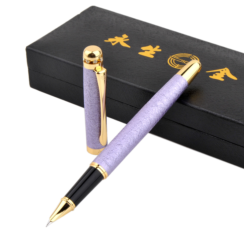 Wingsung 9120 Luxury Matte Purple Fountain Pen 0.5mm Nib Fashion Diamond Metal Ink Pens with Original Gift Case Office Supplies 0 5mm hooded nib fountain pen wingsung 016 office and school writing pens free shipping