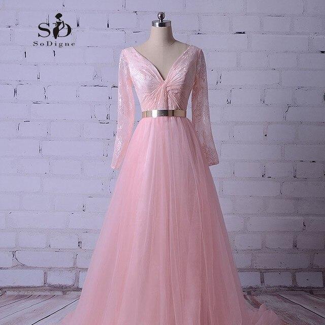 Larga Vestidos de baile 2018 Rosa Encaje largo partido Vestido de ...