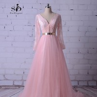 Long Prom Dresses 2017 Pink Lace Long Party Dress Long Sleeves A Line Gold Sashes Formal