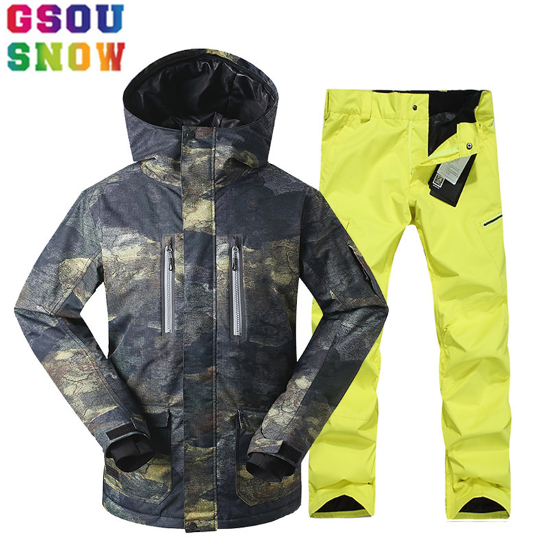 GSOU SNOW Brand Ski Suit Men Ski Jacket Pants Winter Mountain Skiing Suits Male Waterproof Snowboard Sets Outdoor Sport Clothing gsou snow waterproof ski jacket women snowboard jacket winter cheap ski suit outdoor skiing snowboarding camping sport clothing