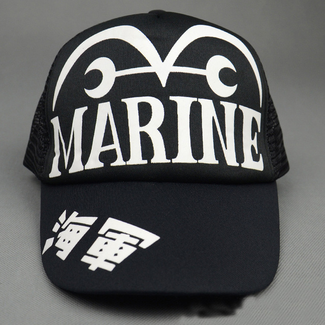 Anime One Piece Marine Snapback Hat Black Mesh Adjustable Sun Sport Baseball Cap Unisex Gift